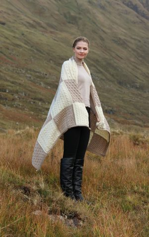 Aran Block Patchwork Merino Wool Blanket
