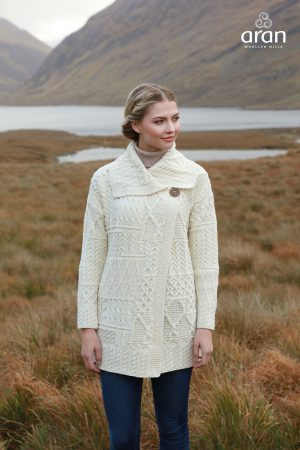 Ladies Aran Patchwork cardigan Coat