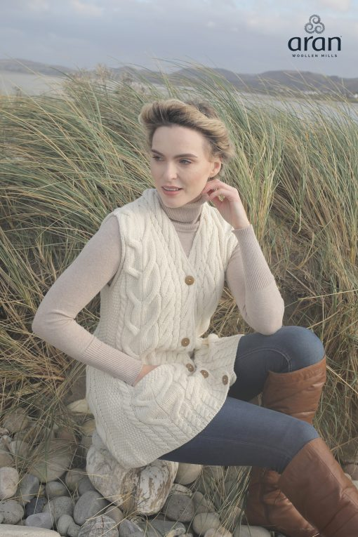 Ladies Natural Cable Knit Button Waistcoat Cardigan