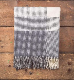 Foxford Grey & White Large Block Throw