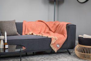 Foxford Orange & Camel Mohair Blanket