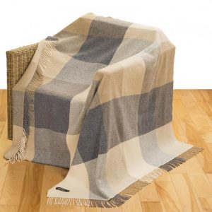 John Hanly Gray Cream Cashmere Throw 1473