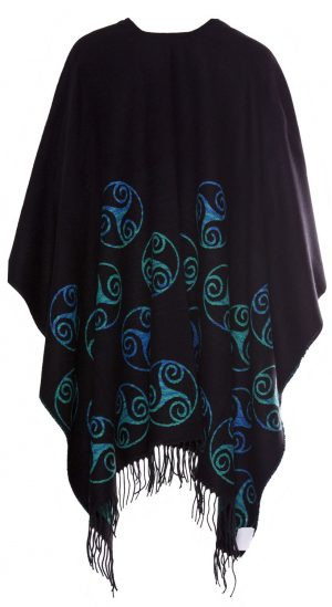 Jimmy Hourihan Irish Shawl Wrap Cape Black/Turquoise