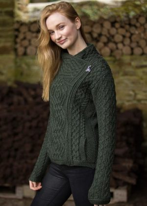 Ladies Green Side Zip Aran Cardigan