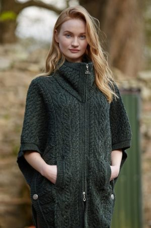 Aran Green Double Collar Cardigan