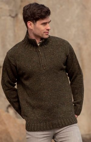 Donegal Wool Mens Green Half Zip Sweater