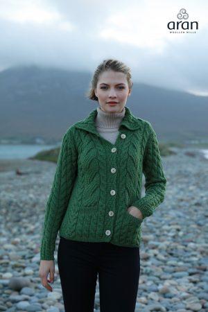 Cable Knit Super Soft Green Merino Wool Cardigan b940 430