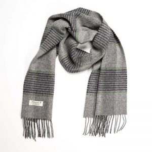 John Hanly Lambswool Grey Green Scarf 567