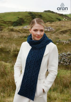 Blue Merino Wool Aran Scarf