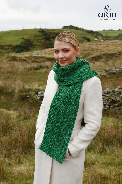 20262b5a60c06f Green Merino Wool Aran Scarf b669 257-Skellig Gift Store
