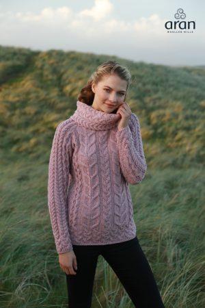 Pink Aran Roll Neck Sweater b653 402