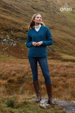 Ladies Blue Merino Wool V Neck Fitted Sweater