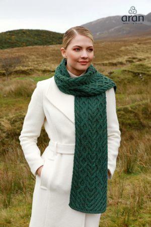 Connemara Green Merino Wool Aran Scarf