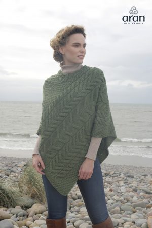 Green Aran Super Soft Merino Wool Poncho