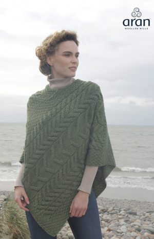 Green Aran Super Soft Merino Wool Poncho