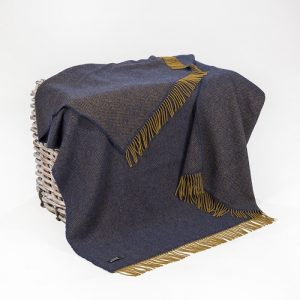 John Hanly Cashmere Navy Herringbone Blanket 1453