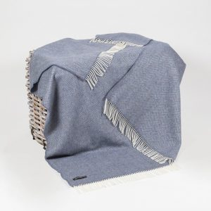 John Hanly Denim & Cream Herringbone Throw 1476