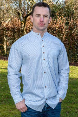 Traditional Irish Blue Stripe Grandfather Shirt