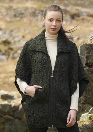 Green Double Collar Aran Funnel Neck Cardigan Jacket