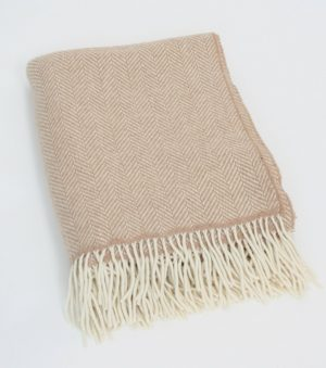 John Hanly Beige Blanket Throw Cashmere 1475