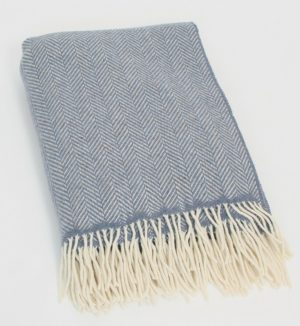 John Hanly Blue Blanket Throw Cashmere 1476