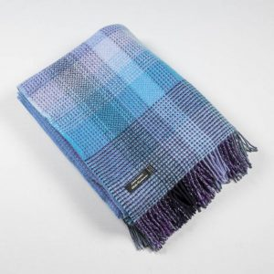 John Hanly Blue Purple Cashmere Blanket 1415