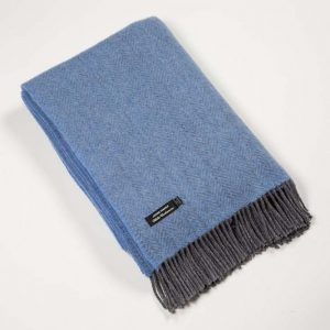 John Hanly Blue Cashmere Blanket 1403
