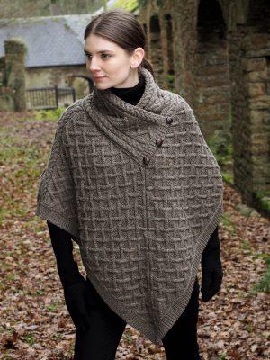Aran Crafts Brown Wool Poncho