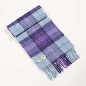 John Hanly Purple Check Scarf