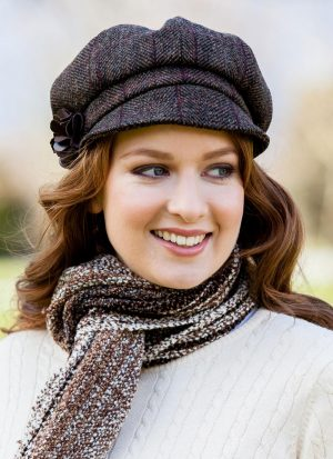 Ladies Brown Mucros Newsboy Cap