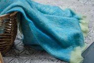 Foxford Lime Blue Mohair Blanket Throw