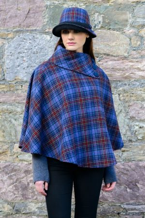 Blue Red Plaid Mucros Poncho