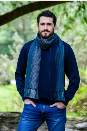 Mucros Dingle Green Navy Irish Scarf