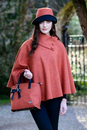 Orange Mucros Irish Tweed Poncho