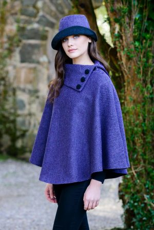 Purple Mucros Irish Tweed Poncho