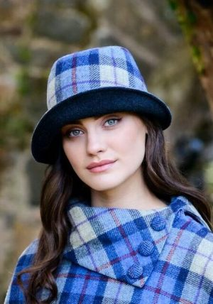 Mucros Blue Check Clodagh Hat