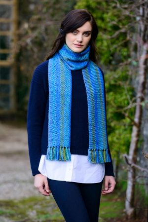 Mucros Blue Aran Irish Scarf