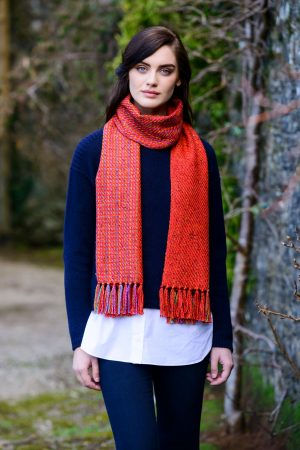 Mucros Orange Aran Irish Scarf