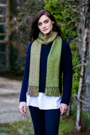 Mucros Green Aran Irish Scarf