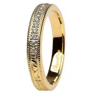 Claddagh Celtic Diamond Set 14K Gold Wedding Ring