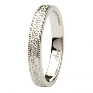 Celtic Trinity Knot 14K White Gold Wedding Ring