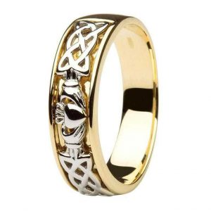 Gents Two Tone Claddagh Wedding Ring