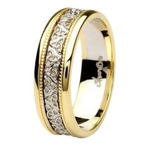 Celtic Trinity Knot Two Tone 14K Gold Gents Wedding Band