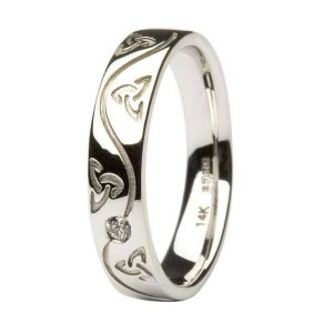 Gents Celtic Trinity Diamond Set Wedding Ring