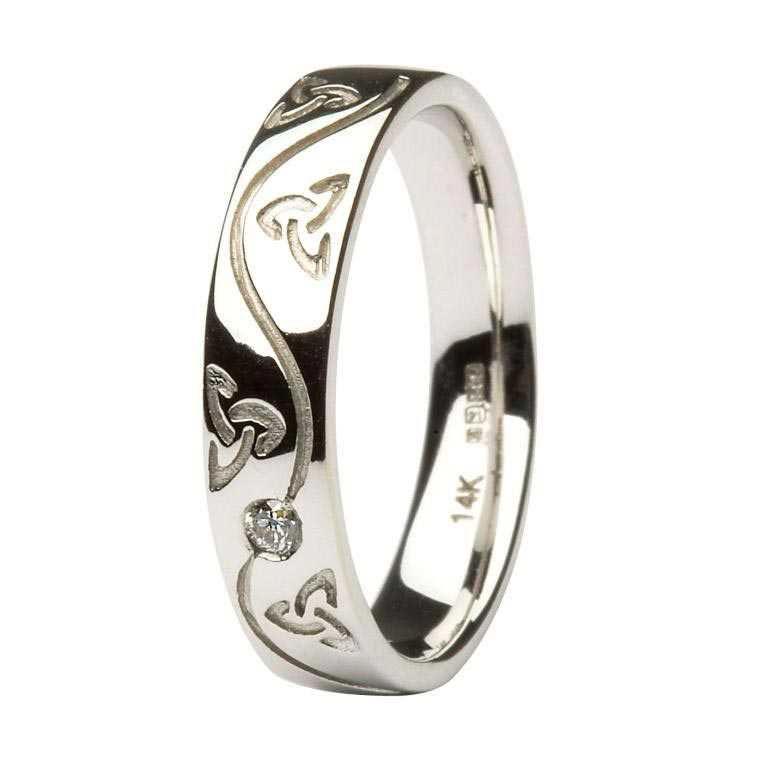 Gents Celtic Trinity Diamond Set Wedding Ring Skellig Gift Store