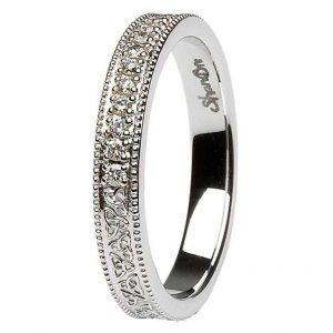 Celtic Trinity Knot Diamond 14K White Gold Wedding Ring