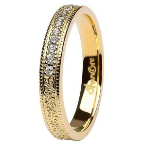 Celtic Trinity Knot Diamond 14K Gold Wedding Ring