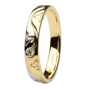 Celtic Two Tone Diamond Wedding Ring