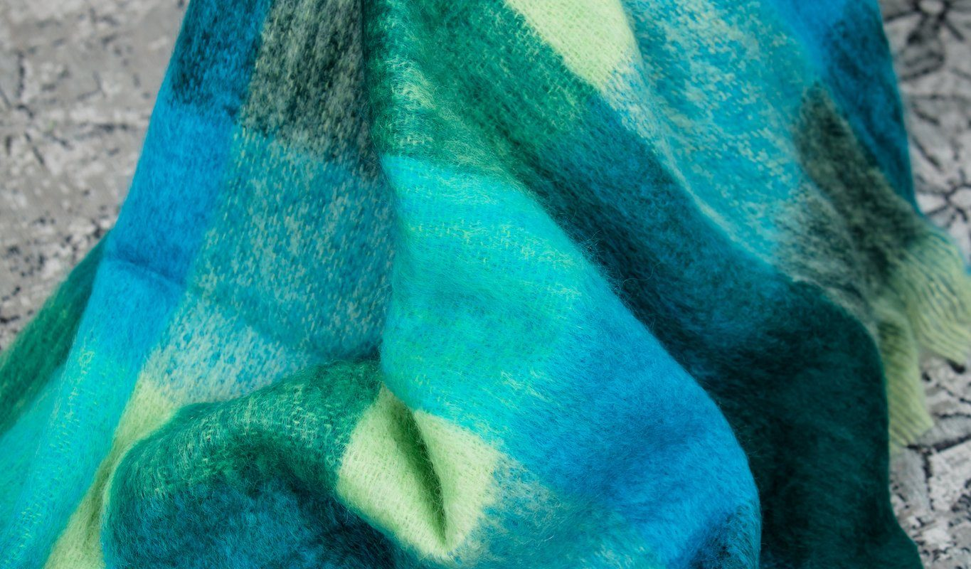 Foxford Green Check Mohair Blanket Throw