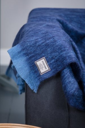 Foxford Sky Blue & Dark Blue Mohair Blanket Throw